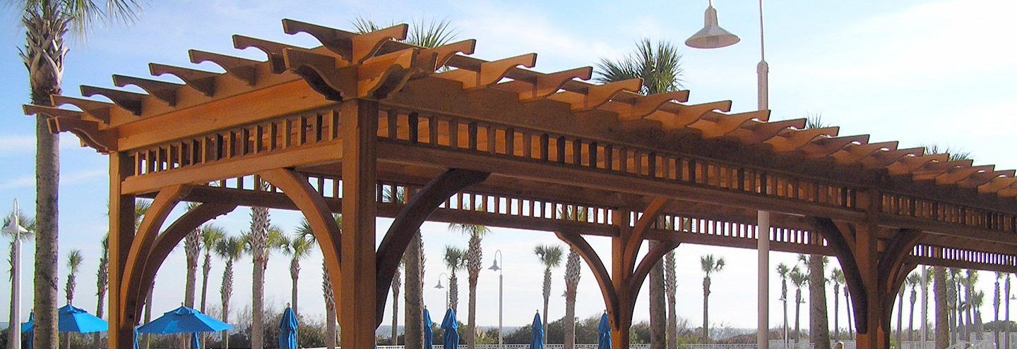 post and beam pergola at the Marriott Hotel in Myrtle Beach NC