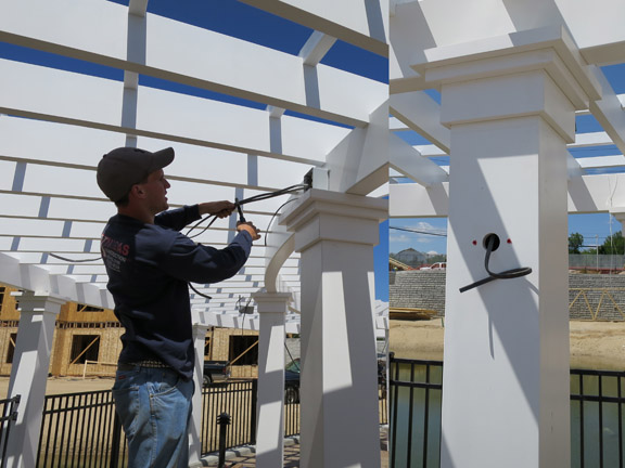 Running wires through a baldwin fiberglass pergola