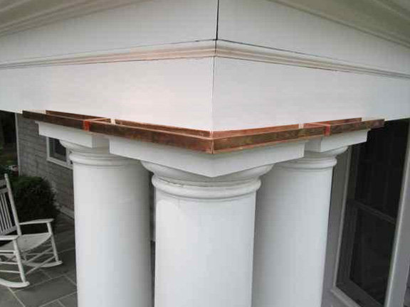 Copper flashing is a distinctive architectural detail