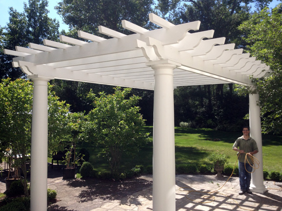 this is a picture of a tall fiberglass pergola canopy